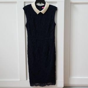 Betsey Johnson Navy Lace Dress with Pearl Collar